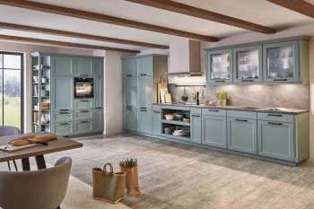 Nobilia Cascada 776 Schilf Landhausküche mit offenen Regalen