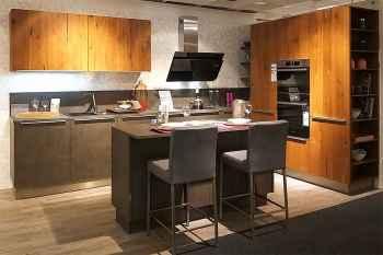 Nolte Küche Portland/Legno Echtzement Anthrazit matt kombiniert mit Eiche Trüffel furniert Koje 28