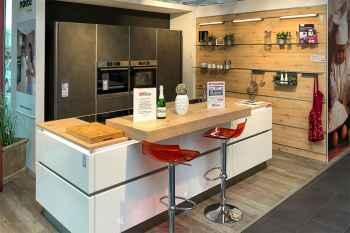 Nolte Küche Portland/Nova Lack Zement Anthrazit kombiniert mit Lack in Weiß Hochglanz Koje 04