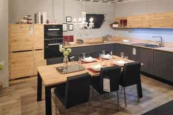 Nolte Küche Feel Quarzgrau softmatt kombiniert mit Wildeiche rustikal Nachbildung Koje 20