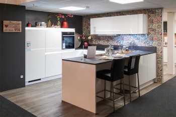 Nolte Küche Nova Lack Lack Weiß Hochglanz Arbeitsplatte Basalt Nachbildung Koje 64