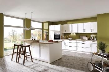 Nobilia Credo Alpinweiß Küchenteile mit Kochinsel und erhöhter Pultplatte