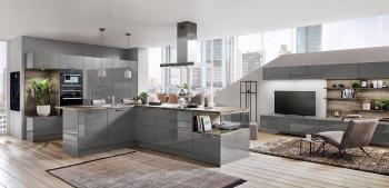 Nobilia Flash Schiefergrau Hochglanz offene Küche mit Wohnbereich