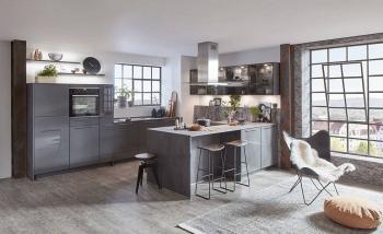 Nobilia Flash Schiefergrau Hochglanz2-zeile Küche mit Kochinsel Glaswandschränke Flat