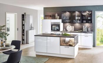 Nobilia Flash Alpinweiß Hochglanz Grauglas Glasschränke Glaswangenabschluss Kücheninsel