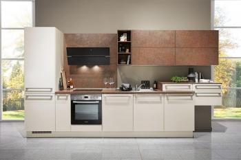 Nobilia Flash Magnolia Hochglanz klassische Küchenzeile kombiniert mit Ferro Bronze Nachbildung