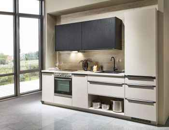 Nobilia Laser Sand Küchenzeile kombiniert mit Structura in Eiche Nero Nachbildung