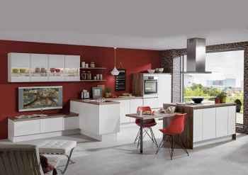 Nobilia Laser Weiß Wohnküche mit Kochinsel