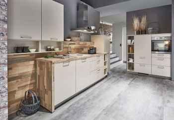 Nobilia Laser Sand Küchenzeile mit Midi-Schrankelement hoch eingebauter Backofen