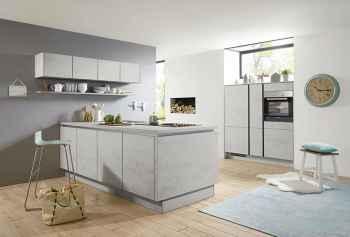 Nobilia Riva Beton grau Nachbildung kleine moderne Küche