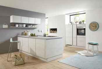 Nobilia Riva Weißbeton Nachbildung kleine Küche mit Kochinsel