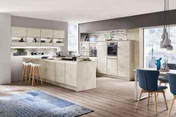 Nobilia Riva Weißbeton Nachbildung moderne Küche grifflos in U-Form