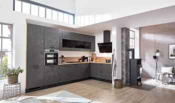 Nobilia Riva Beton terragrau Nachbildung moderne L-Küche