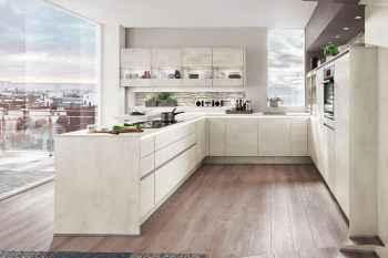 Nobilia Riva Weißbeton Nachbildung LINE-N-Küche obere Griffprofil beleuchtet