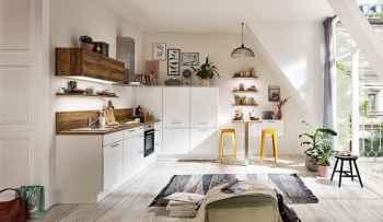 Nobilia Speed Alpinweiß moderne kleine Winkelküche kombiniert mit Balkeneiche Nachbildung