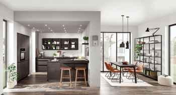 Nobilia Speed Schwarzbeton Nachbildung moderne Küche mit Essbereich