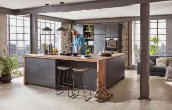 Nobilia Speed Schwarzbeton Nachbildung moderne Wohnküche