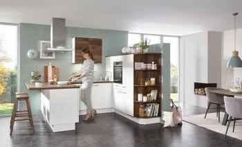 Nobilia Speed Alpinweiß kleine Küche kombiniert mit Balkeneiche Nachbildung