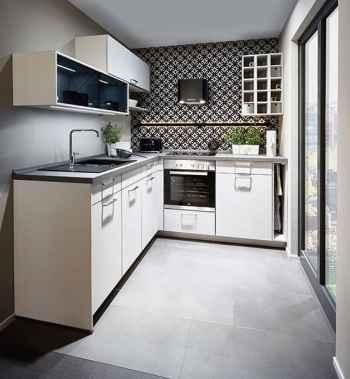 Nobilia Speed Seidengrau kleine und moderne Einbauküche mit beleuchtetem Relingsystem