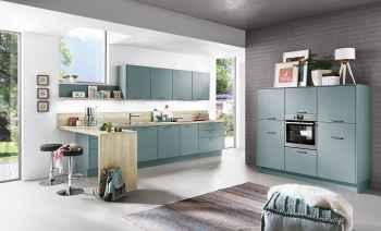 Nobilia Touch Aqua supermatt Küchenzeile mit Midi-Schrankelement