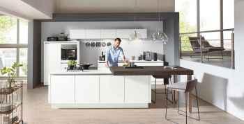 Nobilia Touch Alpinweiß supermatt moderne grifflose Küche mit Kochinsel