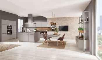Nobilia Touch Steingrau supermatt große moderne Küche
