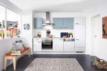 Nobilia Touch Alpinweiß supermatt Küchenzeile kombiniert mit Aqua supermatt