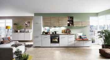 Nobilia Touch Seidengrau supermatt das Sideboard verbindet den Küchen- mit dem Wohnbereich kombiniert mit Ferro Bronze Nachbildung