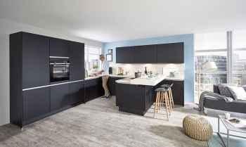 Nobilia Touch Schwarz supermatt offene moderne Küche