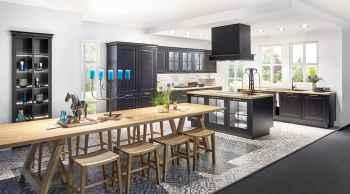 Nobilia Sylt Lack Schwarz matt große moderne Landhausküche mit Esstafel
