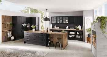 Nobilia Sylt Lack Schwarz matt moderne Landhausküche mit Koch- und Spülinsel
