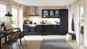 Nobilia Sylt Lack Schwarz matt Küchenzeile im Landhausstil