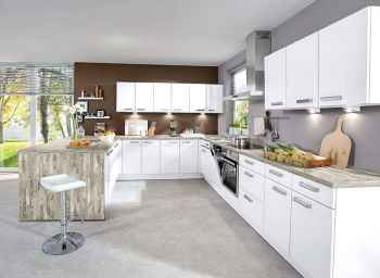 Nobilia Focus Weiß Ultra-Hochglanz klassische Einbauküche in U-Form