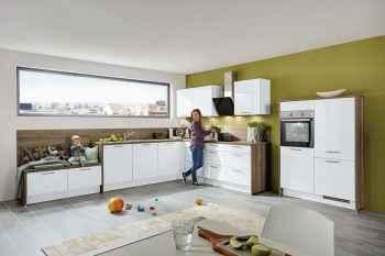 Nobilia Focus Weiß Ultra-Hochglanz L-Küche mit Lowboard