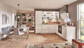 Nobilia Focus Alpinweiß Ultra-Hochglanz L-Küche mit satinierten Glas-Oberschränken