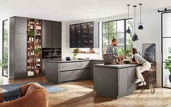 moderne Küche Nobilia Riva moderner Betonlook