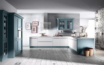 Oster Oldham in Graublau kombiniert mit weißem Glas